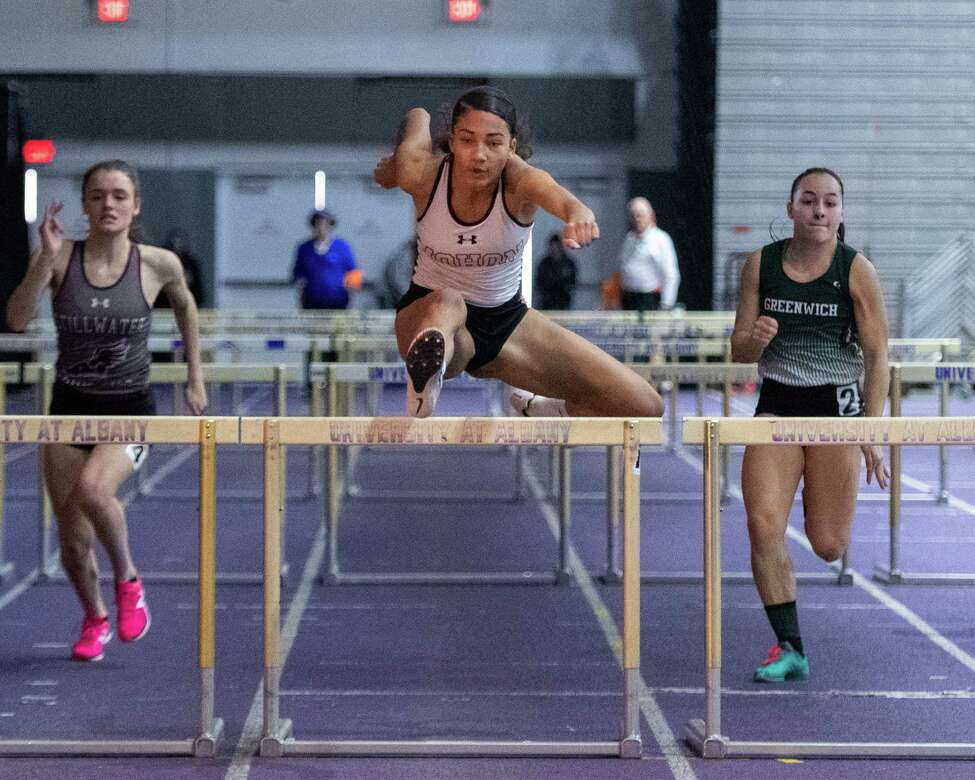 Mohonasen runner Natalia Sawyer competes in the 55-meter hurdles during the Section II state qualifier at UAlbany on Sunday, Feb. 23, 2020 (Jim Franco/Special to the Times Union.) state qualifier at UAlbany on Sunday, Feb. 23, 2020 (Jim Franco/Special to the Times Union.)