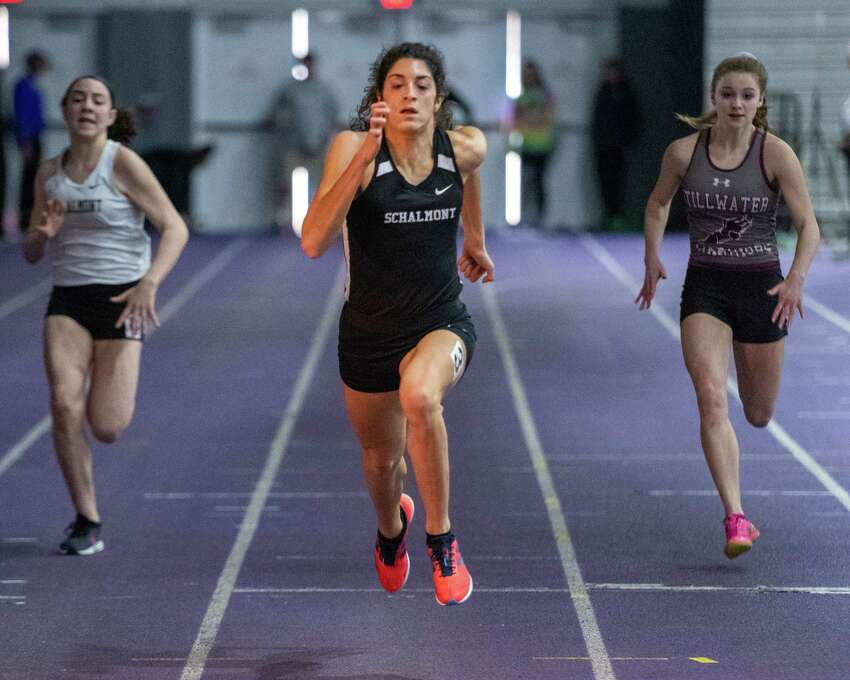 Schalmont sprinter Mia Da€™Ambrosio competes in the 55-meter dash during the Section II state qualifier at UAlbany on Sunday, Feb. 23, 2020 (Jim Franco/Special to the Times Union.)