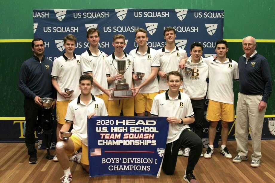The Brunswick School squash team won the 2020 HEAD U.S. Team Squash Championships at Trinity College on Sunday, February 23, 2020, in Hartford, Connecticut. Photo: Chris McClintick /US Squash