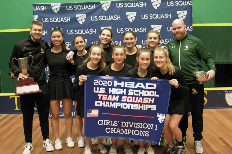 The Greenwich Academy squash team won the Division I title at the HEAD U.S. High School Team Squash Championships on Sunday, February 23, 2020, at Trinity College in Hartford, Connecticut. Photo: Chris McClintick /US Squash