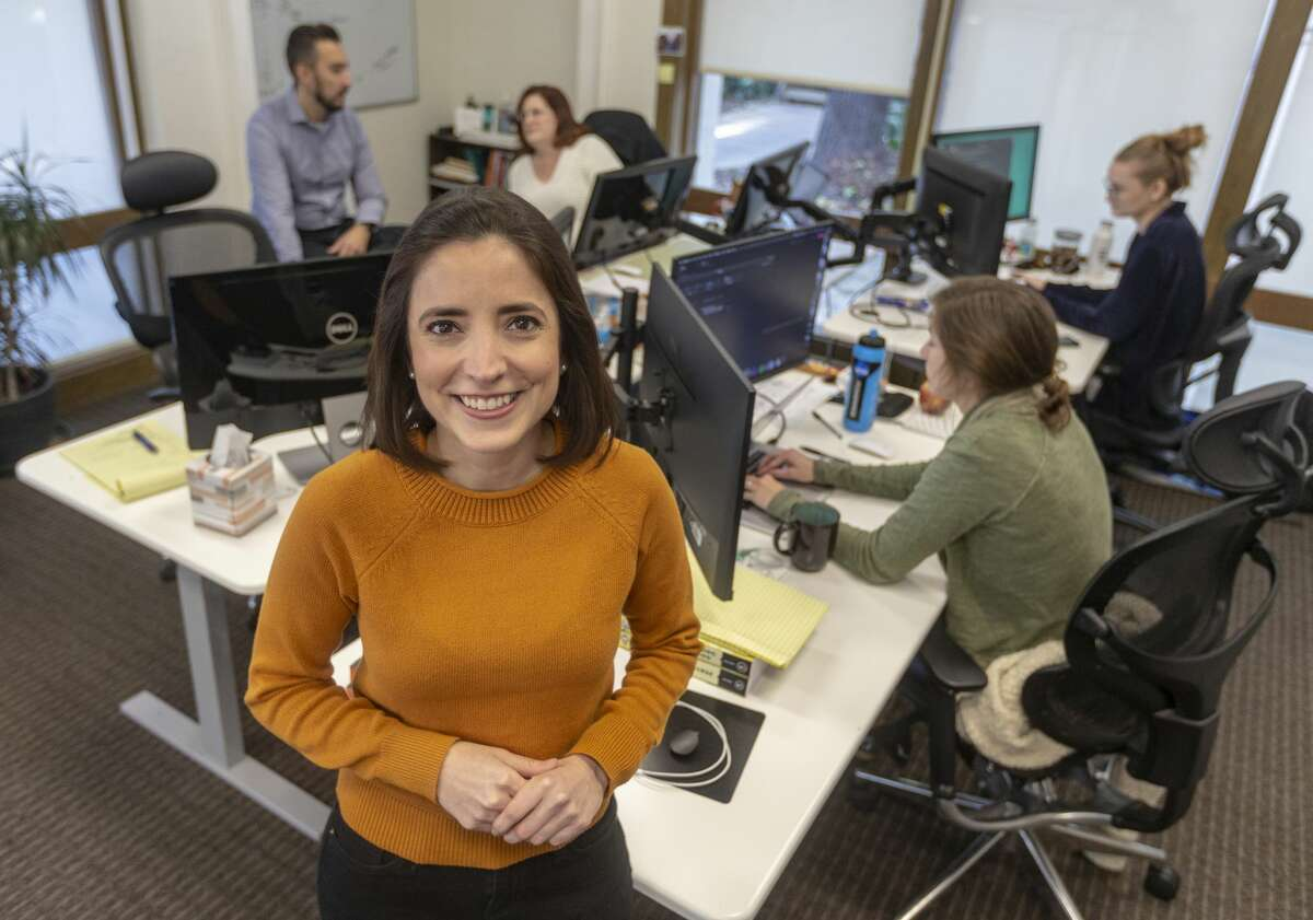 Alejandra Zertuche poses Friday, Feb. 7, 2020 in the Enflux offices in north central San Antonio. Zertuche was named CEO of Enflux, a data analytics firm, in 2018 and has since secured millions in investment as she grows the company.