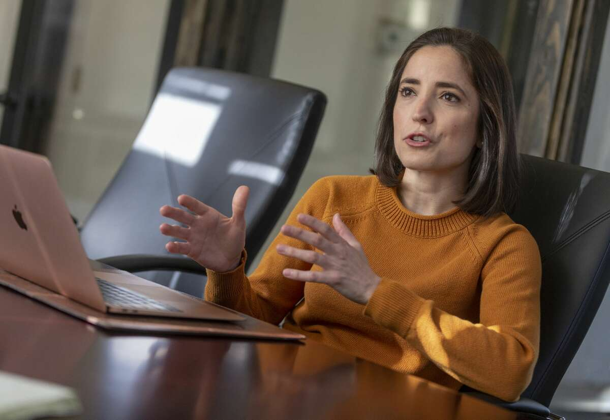 Alejandra Zertuche conducts an interview Friday, Feb. 7, 2020 in the Enflux offices in north central San Antonio. Zertuche was named CEO of Enflux, a data analytics firm, in 2018 and has since secured millions in investment as she grows the company.