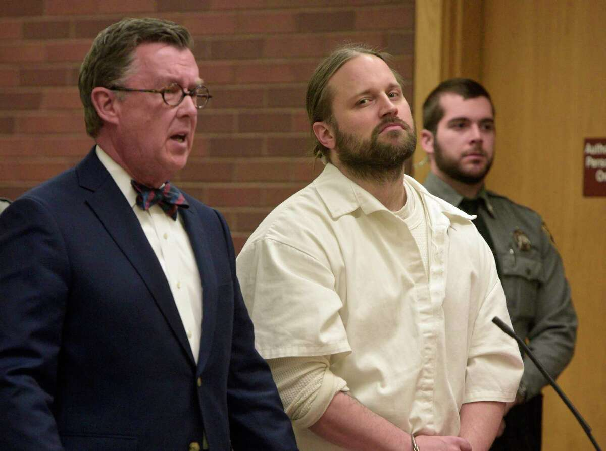 Aaron Bouffard appears in Superior Court in Danbury, Conn, on Friday, January 10, 2020.