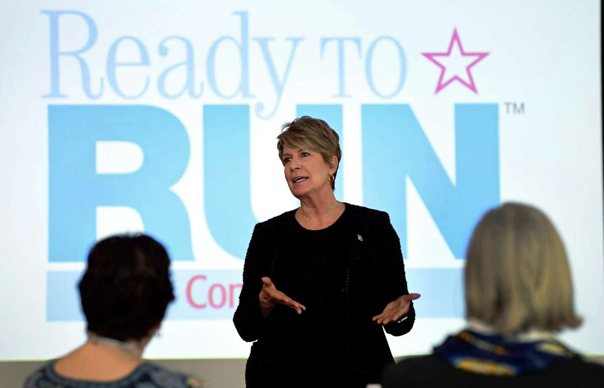 The keynote address is presented by CT State Representatives Laura Devlin (R-134) during the Ready to Run Connecticut women's campaign training program at Fairfield University Saturday, March 30, 2019, in Fairfield, Conn. The session provides a