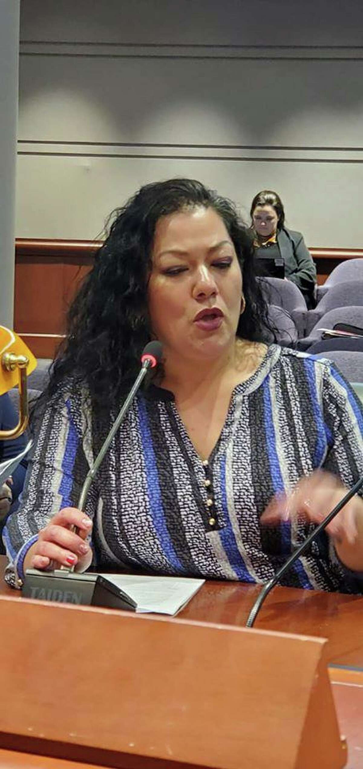 Bridgeport BOE Chairman Jessica Martinez speaks before Appropriations Committee of General Assembly. Feb. 13, 2020. Hartford