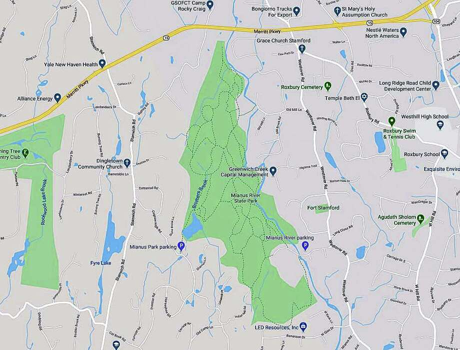 A Stamford man died while fishing on the Stamford side of the Mianus River on Saturday morning on Feb. 22, 2020. Sgt. Robert Shawinsky said that the 59-year-old man, whose identity has not yet been released by police, was found by Mianus River Park goers and called in to police at about 10:30 a.m. Shawinsky said that witnesses tried to resuscitate the man but could not get him to breathe again. Photo: Google Maps