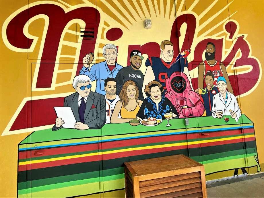 "A new mural celebrating some Houston notables has been unveiled at The Original Ninfa's Uptown. Front row: Marvin Zindler, Jose Altuve, Beyoncé, Ninfa Laurenzo, NASA astronaut, Simone Biles and Dr. Michael DeBakey. Back row: Jim ""Mattress Mack"" McIngvale, Bun B, J.J. Watt and James Harden.  Photo: Marcy De Luna"