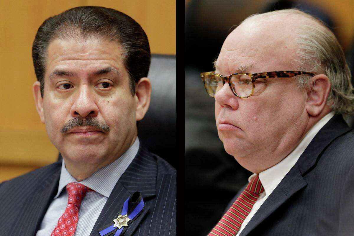 Harris County Precinct 2 Commissioner Adrian Garcia, left, has placed an agenda item for the Feb. 25, 2020 meeting that would allow Commissioners Court to fire Budget Officer Bill Jackson, right.