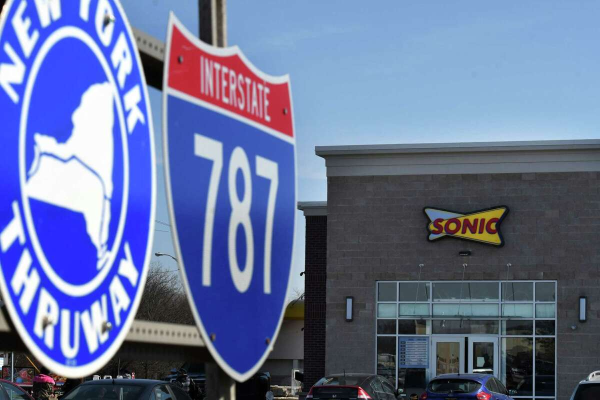A new Sonic Drive-In nears completion on Monday, Feb. 24, 2020, on Route 9W at Exit 23 and the I-787 entrance in Albany, N.Y. The restaurant is scheduled to open on March 2nd. (Will Waldron/Times Union)