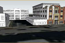 This rendering of the city's proposed parking garage shows one of its access points behind Big Daddy's on North Main Street.