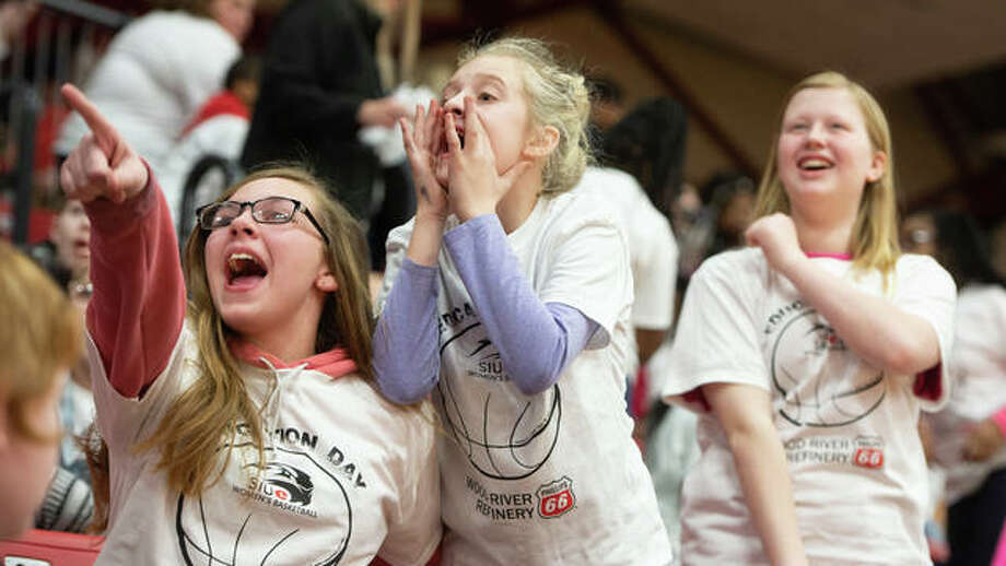 Local students cheer on the SIUE Women's Basketball team during a special Education Day event. Photo: For The Intelligencer