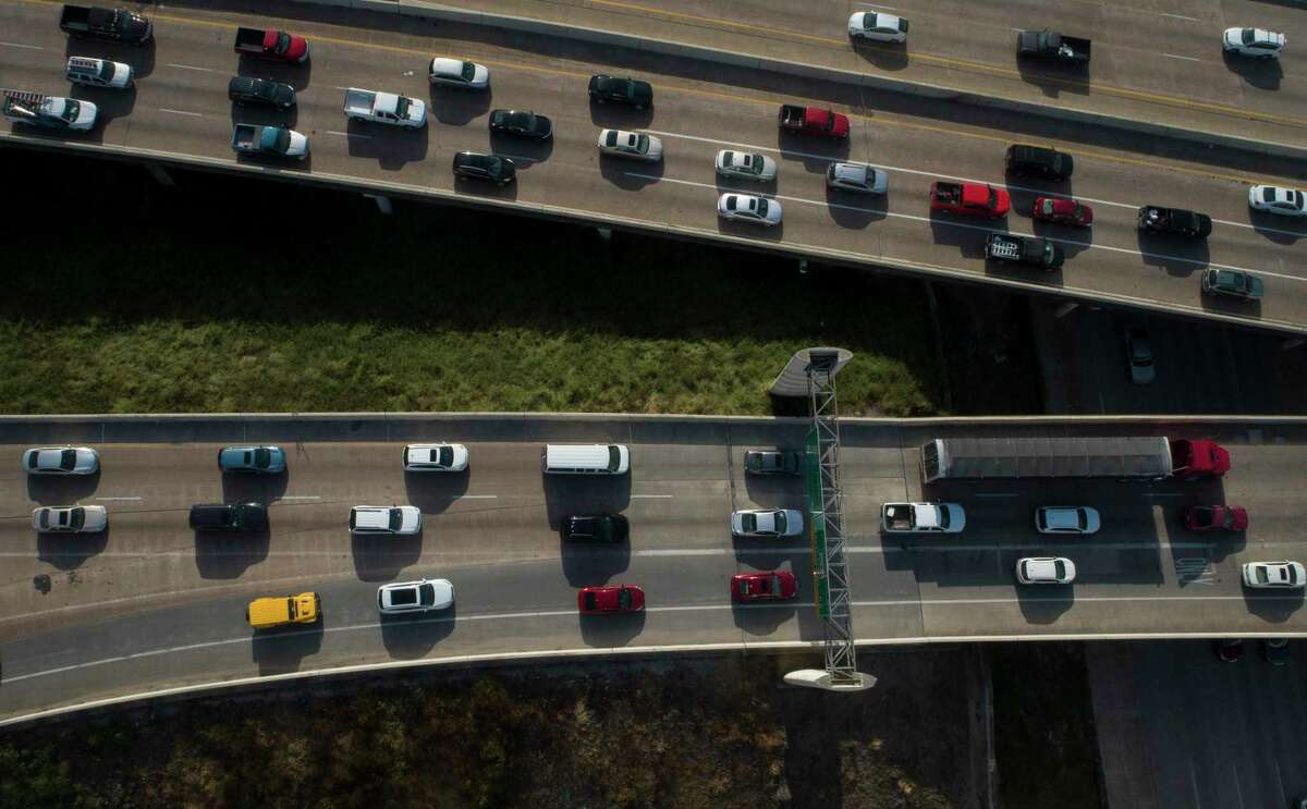 Drivers travel along Loop 610 near Interstate 69 through Uptown on Aug. 21, 2019, in Houston. The segment of the West Loop from Interstate 10 to I-69 is the second-most congested in the state.