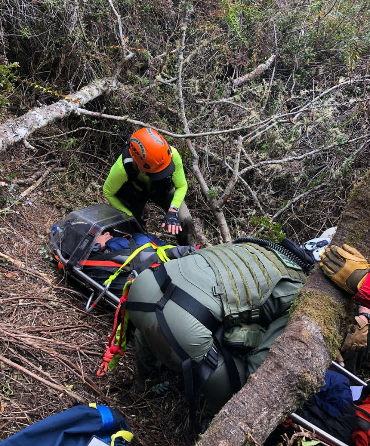 A search team works to rescue a Palo Alto couple that went missing in west Marin County in February 2020.