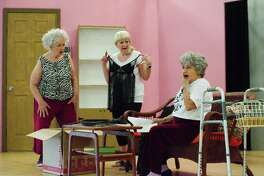 "A cast that includes Carol Willis, left, Eddie Young and Sue Martinez goes for big laughs in ""Nana's Naughty Knickers"" at Country Place in Pearland."