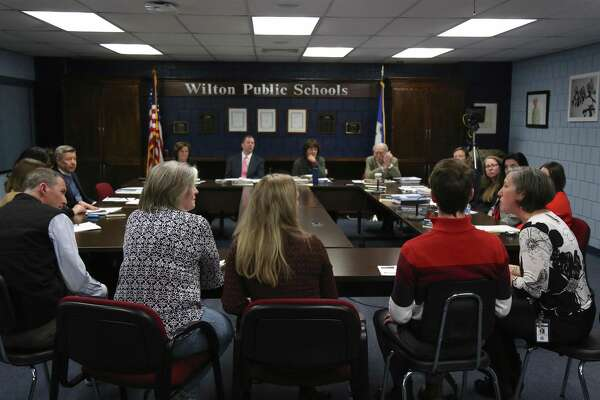 Lauren Feltz, Middlebrook School principal, at right, and some of her staff members talk to the Board of Education Thursday night, Feb. 20, about the exploration of a new schedule starting in the 2021-22 school year.