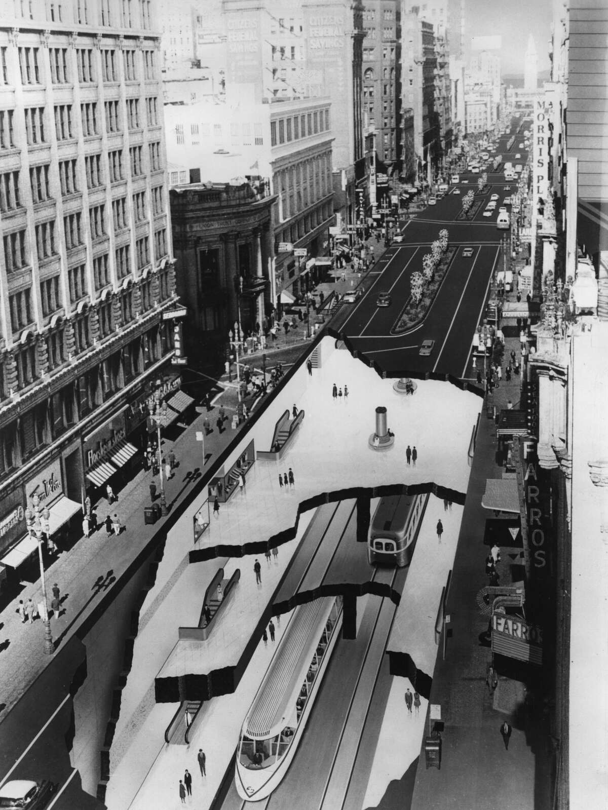 A design from 1965 for an underground ultra rapid transport system at Market Street, San Francisco, to encourage travellers to leave their cars outside the city center. It later became BART.