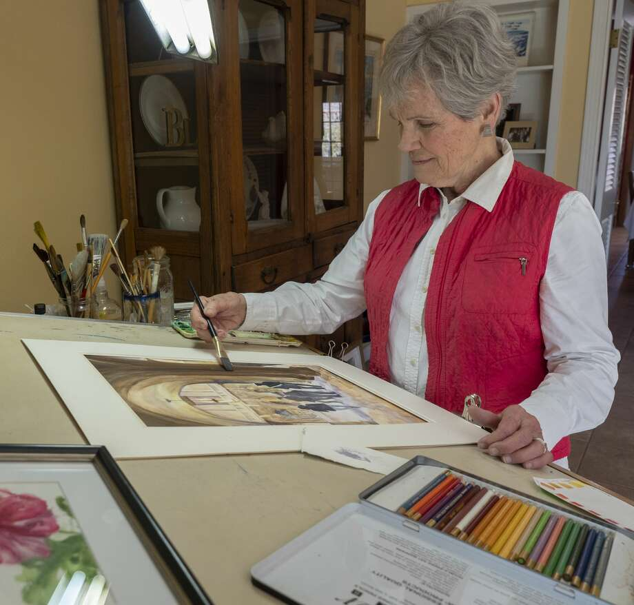 Fan Mowles works on one of her watercolors 02/24/19 as she prepares work for the Sonshine Arts Festival. Tim Fischer/Reporter-Telegram Photo: Tim Fischer/Midland Reporter-Telegram