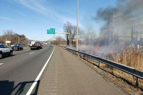 Westport and Fairfield Fire Departments responded to a fire off Interstate 95 on Wednesday.