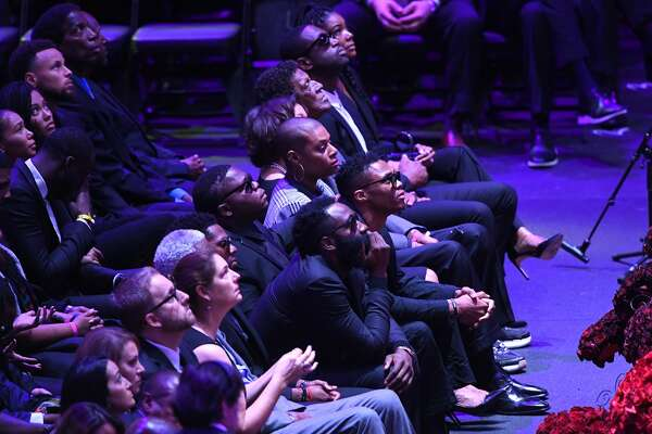 LOS ANGELES, CALIFORNIA - FEBRUARY 24: James Harden, Russell Westbrook , Dwyane Wade, Steph Curry, A.C. Green and others attend The Celebration of Life for Kobe & Gianna Bryant at Staples Center on February 24, 2020 in Los Angeles, California. (Photo by Kevork Djansezian/Getty Images)
