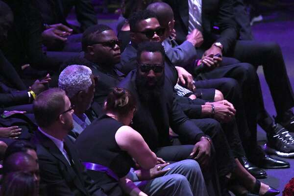 LOS ANGELES, CALIFORNIA - FEBRUARY 24: Bill Russell, James Harden and Russell Westbrook attend The Celebration of Life for Kobe & Gianna Bryant at Staples Center on February 24, 2020 in Los Angeles, California. (Photo by Kevork Djansezian/Getty Images)
