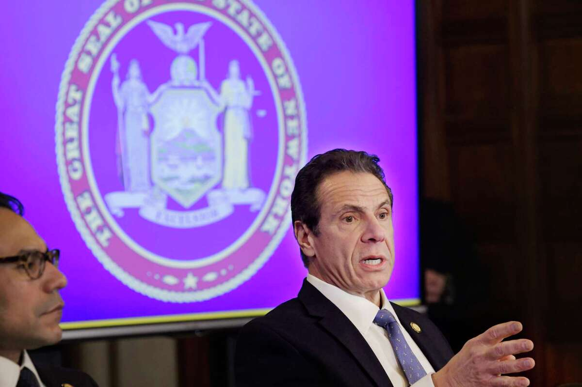 Governor Andrew Cuomo speaks at a press conference at the Capitol on Monday, Feb. 24, 2020, in Albany, N.Y. (Paul Buckowski/Times Union)