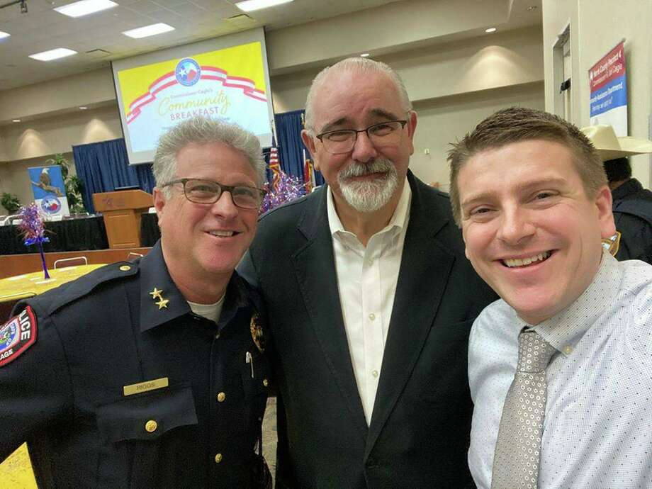 (left to right) Jersey Village Police Department Chief Kirk Riggs, Harris County Precinct 4 Commissioner Jack Cagle and Jersey Village City Manager Austin Bleess. Photo: Provided By Jersey Village