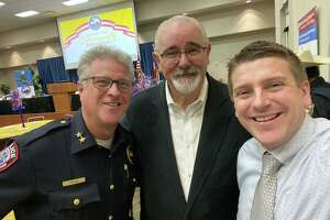 (left to right) Jersey Village Police Department Chief Kirk Riggs, Harris County Precinct 4 Commissioner Jack Cagle and Jersey Village City Manager Austin Bleess.