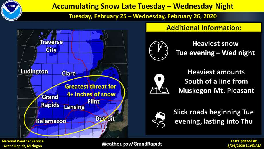 Winter returns Tuesday night through Wednesday with at least 4 inches of snow expected to fall in Midland County. Photo: National Weather Service/Grand Rapids