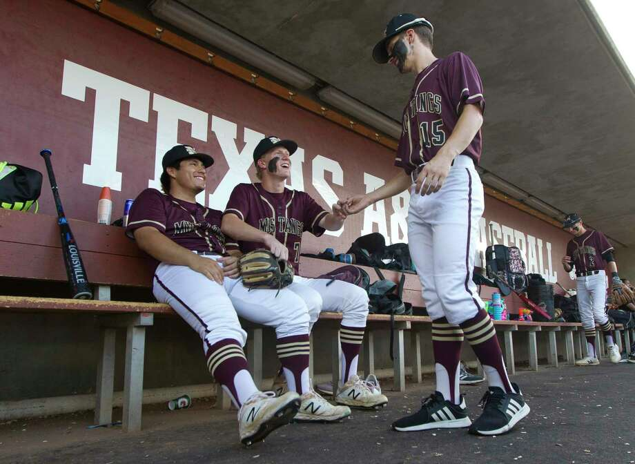 Magnolia West's Reid Snook, left, Carson Carpenter, center, and J.T. Phillips will be key contributors for the Mustangs this season. Photo: Jason Fochtman, Houston Chronicle / Staff Photographer / © 2019 Houston Chronicle