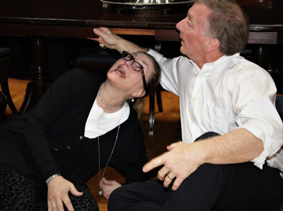"""Priscilla Squiers and David Victor in rehearsal for """"The Dining Room,"""" coming to Stratford's Square One Theatre. Photo: Square One Theatre / Contributed Photo"""