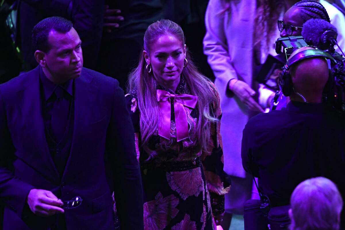 LOS ANGELES, CALIFORNIA - FEBRUARY 24: Alex Rodriguez and Jennifer Lopez depart after The Celebration of Life for Kobe & Gianna Bryant at Staples Center on February 24, 2020 in Los Angeles, California. (Photo by Kevork Djansezian/Getty Images)
