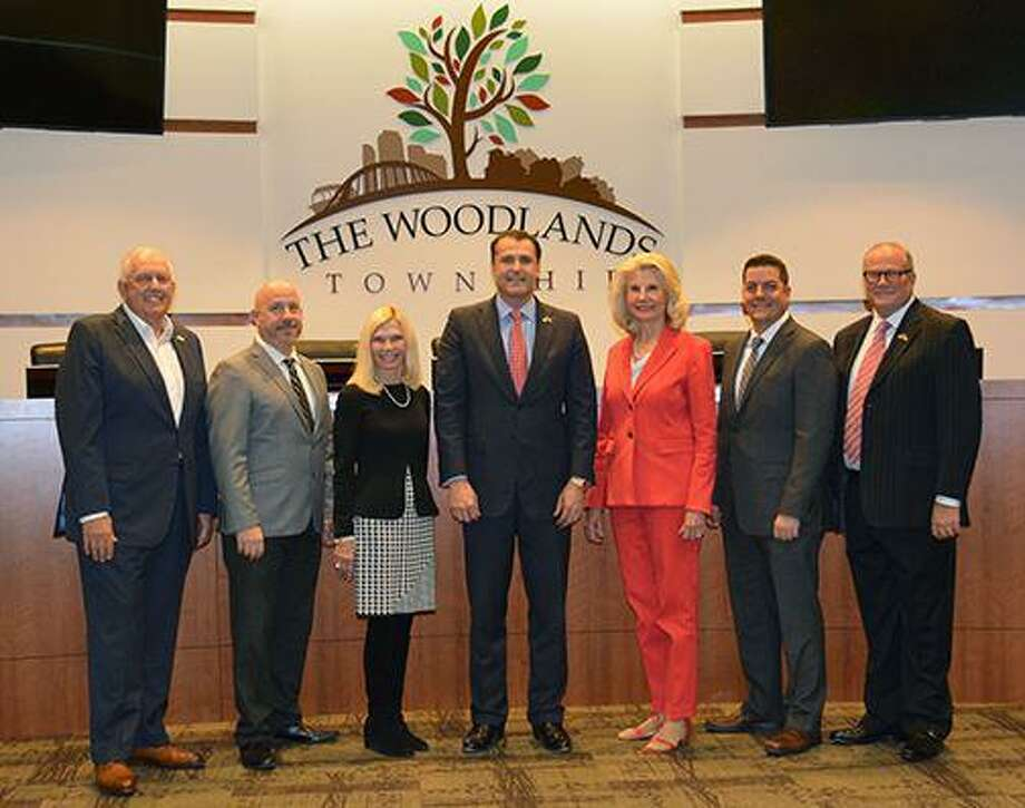 The Woodlands Township Board of Directors voted unanimously Thursday to send Harris County Judge Lina Hidalgo a letter stating their opposition to the mandatory face covering decree, which affects about 18,000 township residents who reside in the Village of Creekside Park in Harris County. Brian Boniface, second from right, is no longer on the board after resigning April 9. His successor, Jason J. Nelson, was sworn into office on April 22, but a new photograph has not been taken due to COVID-19 restrictions. Photo: Image Courtesy The Woodlands Township / Image Courtesy The Woodlands Township