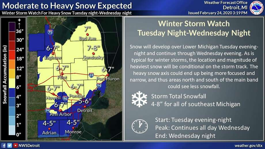 A National Weather Service graphic shows potential snowfall from a winter storm expected to impact the area Tuesday through Wednesday. (National Weather Service/Courtesy)