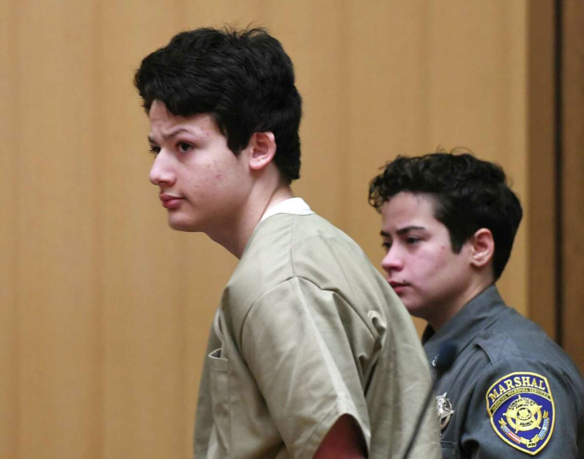 Guilford's Ellis Tibere, 18, who is accused of attempted murder, appears for a motion to lower his bond at Connecticut Superior Court in Stamford, Conn. Monday, Feb. 24, 2020. The judge upheld the current bond at $1 million. Tibere was charged with attempted murder after allegedly repeatedly stabbing a 33-year-old Greenwich woman in her car in Westport.