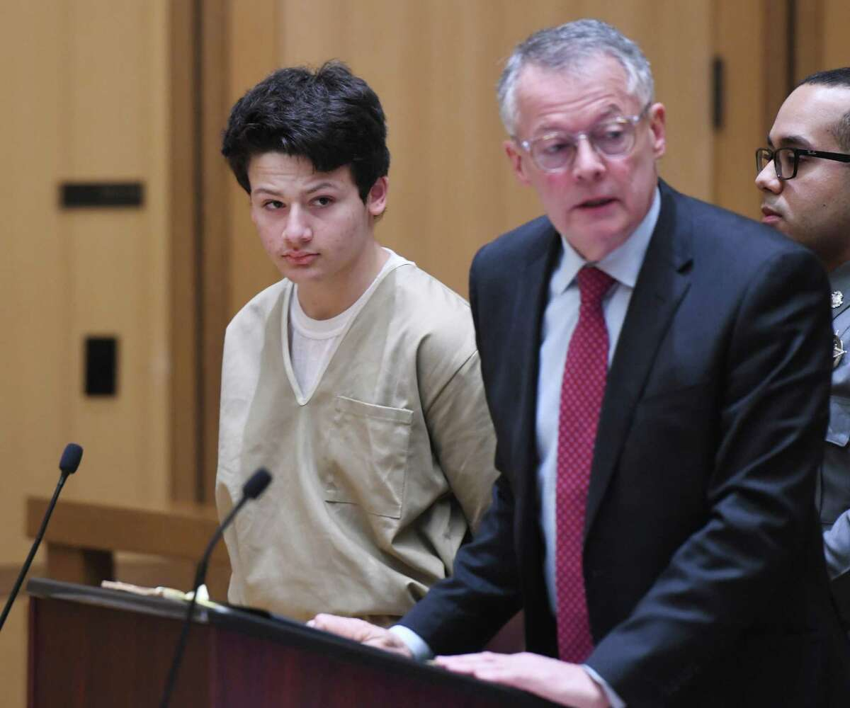 Guilford's Ellis Tibere, 18, who is accused of attempted murder, appears with his attorney John Gulash for a motion to lower Tibere's bond at Connecticut Superior Court in Stamford, Conn. Monday, Feb. 24, 2020. The judge upheld the current bond at $1 million. Tibere was charged with attempted murder after allegedly repeatedly stabbing a 33-year-old Greenwich woman in her car in Westport.