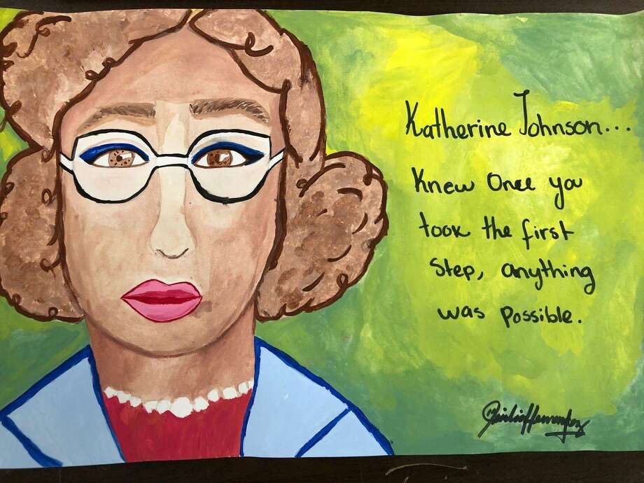 "Stamford student artists will unveil their creations March 1 at the 16th annual Student Cultural Arts and Literary Program, marking Black History Month. Pictured is ""Katherine Johnson,"" by Katherine Hernandez Guerra, Stamford High School, Grade 12. Photo: Contributed Photo"