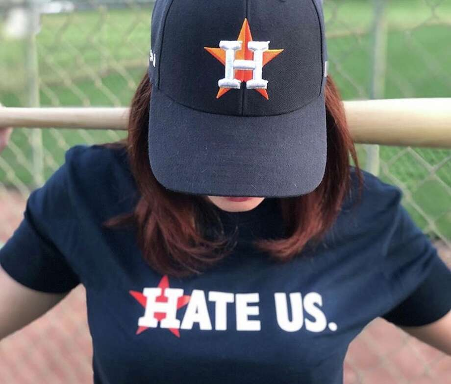 """Houston Astros """"Hate Us"""" shirt from creators Nick and Chelsea Drago. Photo: Nicholas And Chelsea Drago"""