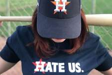 "Houston Astros ""Hate Us"" shirt from creators Nick and Chelsea Drago."