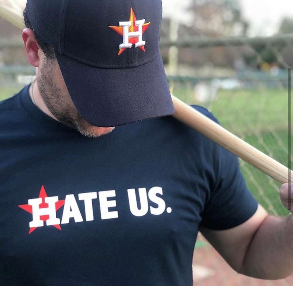 """Widely popular """"Hate Us"""" shirt from creators Nick and Chelsea Drago."""