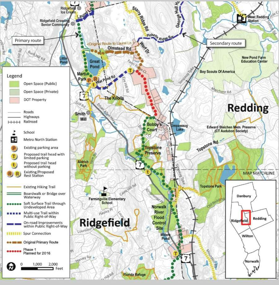 Map of the proposed Norwalk River Valley Trail in Redding, Conn. Photo: Contributed Photo/Norwalk River Valley Trail / The News-Times / The News-Times Contributed