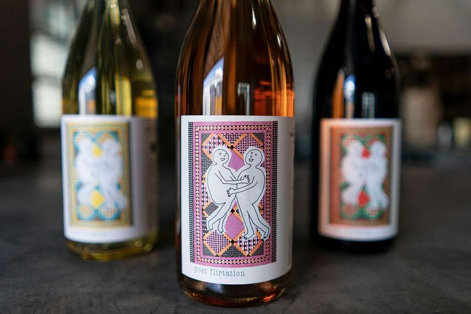 Martha Stoumen's 'Post-Flirtation' series, a pun on the winemaking term 'post-filtration' that her husband, Jon Patch, coined. Photo: Rachel Bujalski / Special To The Chronicle