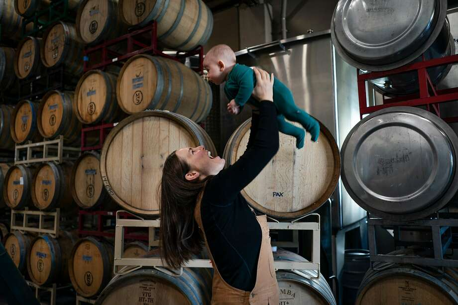 Martha Stoumen and her son August at Pax Mahle Wines. Photo: Rachel Bujalski / Special To The Chronicle