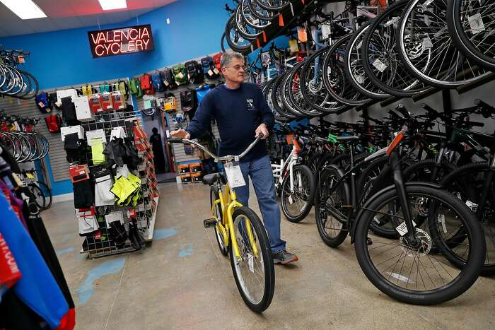 Paul Olszewski, owner of Valencia Cyclery, at his store on Valencia Street in San Francisco, Calif., on Monday, February 24, 2020.