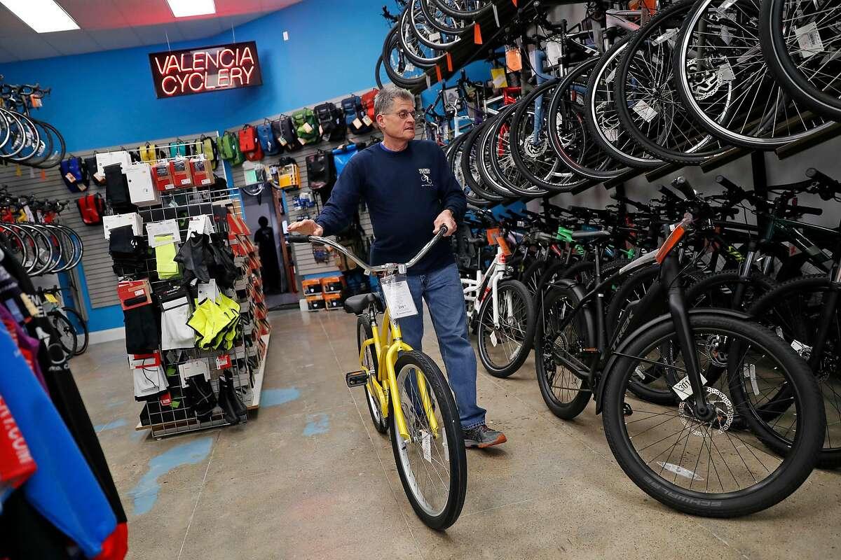 Paul Olszewski, owner of Valencia Cyclery, at his store on Valencia Street in San Francisco, Calif., on Monday, February 24, 2020.