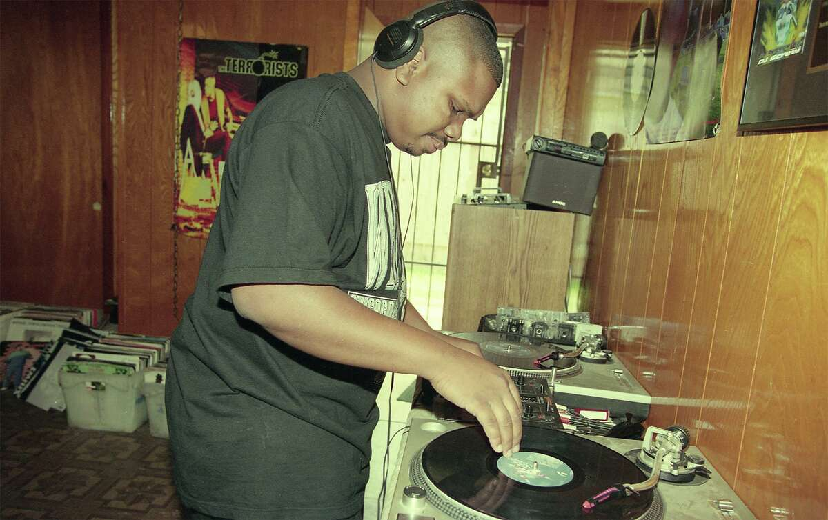 """DJ Screw in his home studio. The late hip-hop legend is the focus of a conceptual exhibition, """"Slowed and Throwed: Records of the City Through Mutated Lenses,"""" on view Jan. 21-April 11 at the Contemporary Arts Museum Houston."""