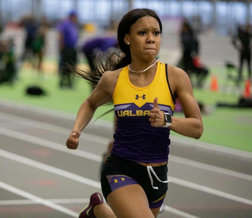 Albany High graduate Jahari Coleman of the UAlbany women's indoor track and field team. (Jay Bendlin / UAlbany Athletics)