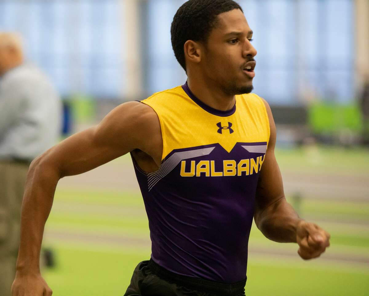 Amsterdam High graduate Omahri Sturdivant of the UAlbany men's indoor track and field team is competing Friday in the NCAA East Preliminary Meet. (Jay Bendlin / UAlbany Athletics)