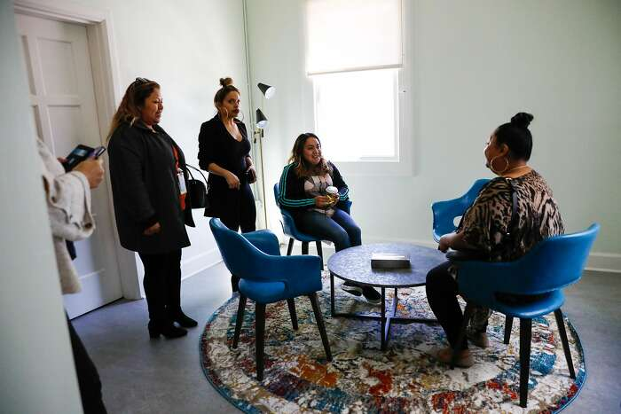 People tour the therapy room at Jelani House in the Bayview on Monday, Feb. 24, 2020 in San Francisco. Jelani House will house and help pregnant and young mothers. It has the ability to house 17 mothers and provide them with access to prenatal care, support and other services.