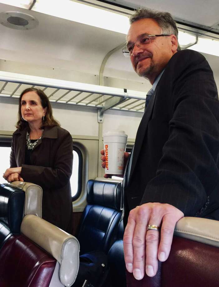 Metro-North Railroad President Catherine Rinaldi, left, and Connecticut Department of Transportation Commissioner Joe Giulietti on the morning train from Danbury to South Norwalk on Thursday. Photo: John Breunig