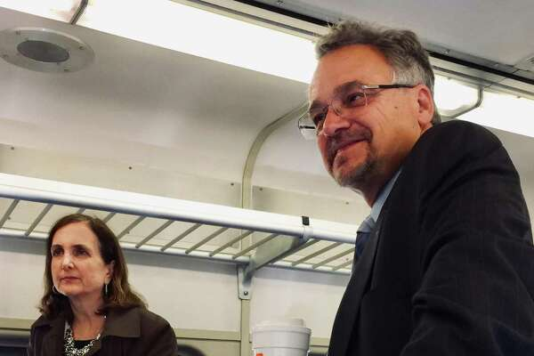 Metro-North Railroad President Catherine Rinaldi, left, and Connecticut Department of Transportation Commissioner Joe Giulietti on the morning train from Danbury to South Norwalk on Thursday.